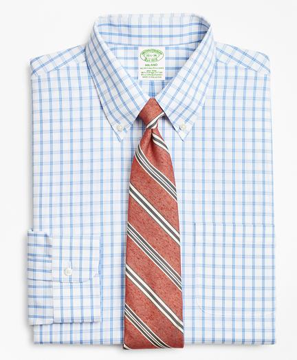 Stretch Milano Slim-Fit Dress Shirt, Non-Iron Outline Windowpane