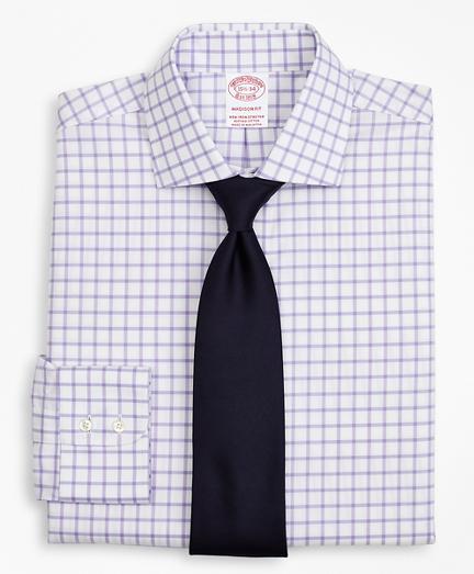 Stretch Madison Classic-Fit Dress Shirt, Non-Iron Twill English Collar Grid Check