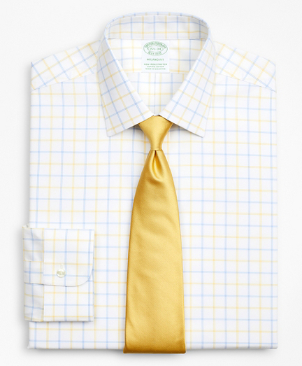 Stretch Milano Slim-Fit Dress Shirt, Non-Iron Poplin Ainsley Collar Double-Grid Check