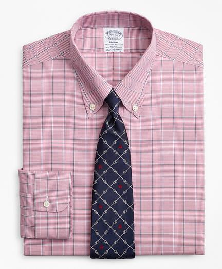 Stretch Regent Fitted Dress Shirt, Non-Iron Pinpoint Button-Down Collar Glen Plaid