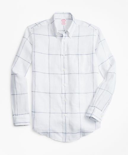 Large-Windowpane Irish Linen Sport Shirt