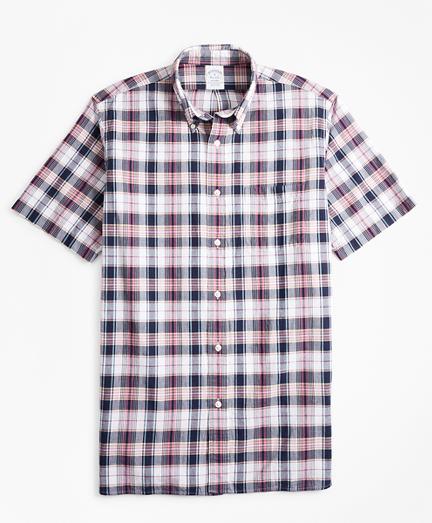 Regent Fit Navy-Red Madras Short-Sleeve Sport Shirt