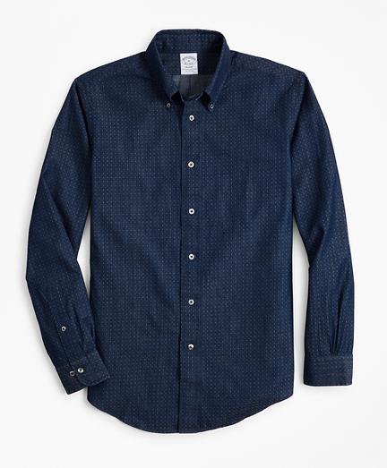 Regent Fit Indigo Micro-Paisley Print Sport Shirt