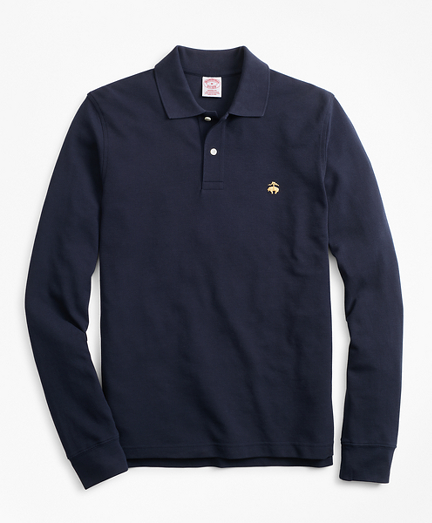 Original Fit Supima Long-Sleeve Performance Polo Shirt-Basic Colors