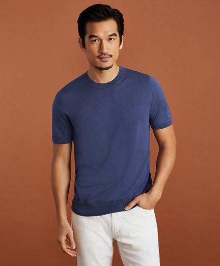 Golden Fleece Short-Sleeve Silk Sweater