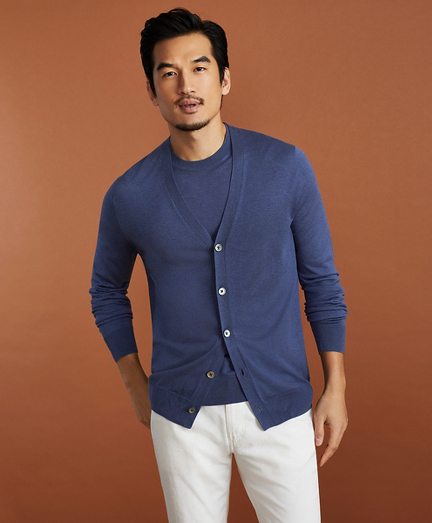 Golden Fleece 3-D Knit Fine-Gauge Silk Cardigan Sweater