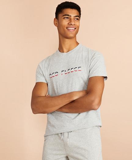 Jersey Cotton Red Fleece Graphic T-Shirt