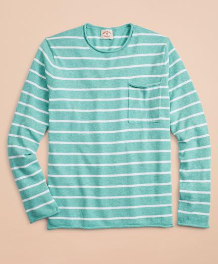 Striped Cotton-Linen Crewneck Sweater