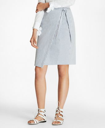 Brooksbrothers Striped Stretch Cotton Seersucker Wrap Skirt