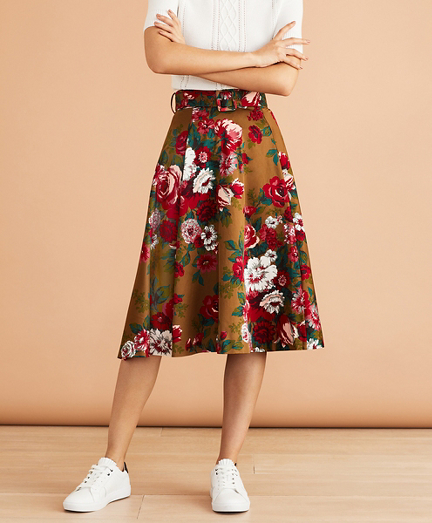 Floral-Print Cotton Sateen Skirt