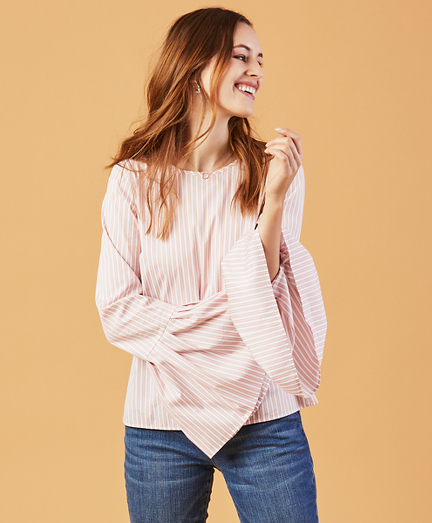 Stripe Stretch-Cotton Bell-Sleeve Blouse