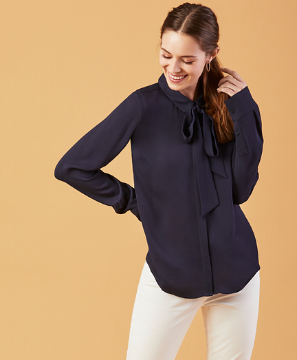 Bow-Neck Crepe Shirt