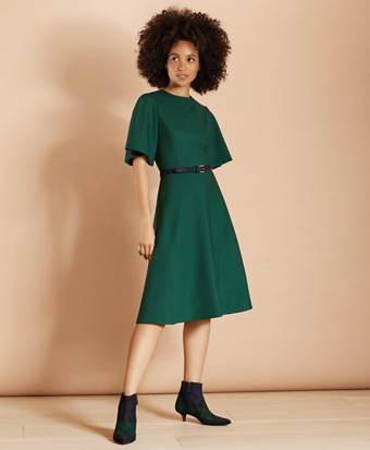 Brooksbrothers Wool-Blend Twill Bell-Sleeve Midi Dress
