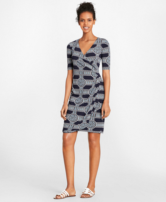 Brooksbrothers Porcelain-Print Jersey Faux Wrap Dress