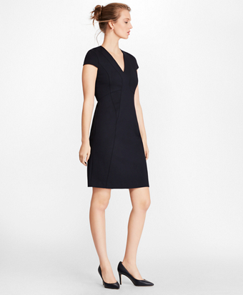 Brooksbrothers Ponte Knit Cap-Sleeve Sheath Dress