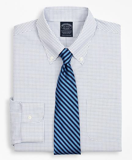 Stretch Big & Tall Dress Shirt, Non-Iron Poplin Button-Down Collar Small Grid Check