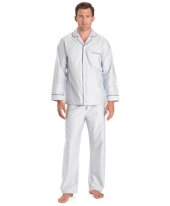 Wrinkle-Resistant Oxford Pajamas Blue