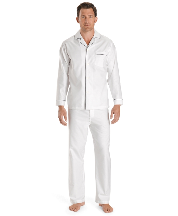 Wrinkle-Resistant Oxford Pajamas White