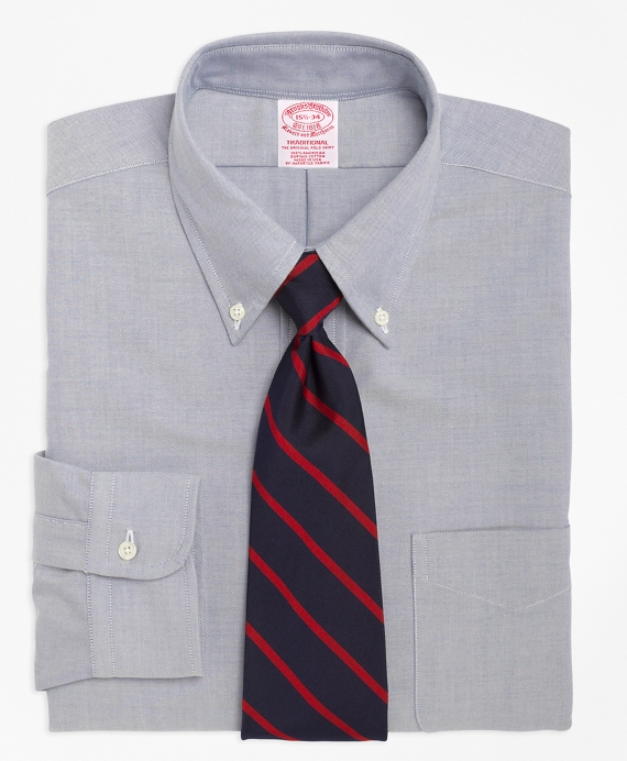 Traditional Relaxed-Fit Dress Shirt, Button-Down Collar Blue