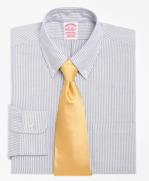Traditional Relaxed-Fit Dress Shirt, Stripe Blue