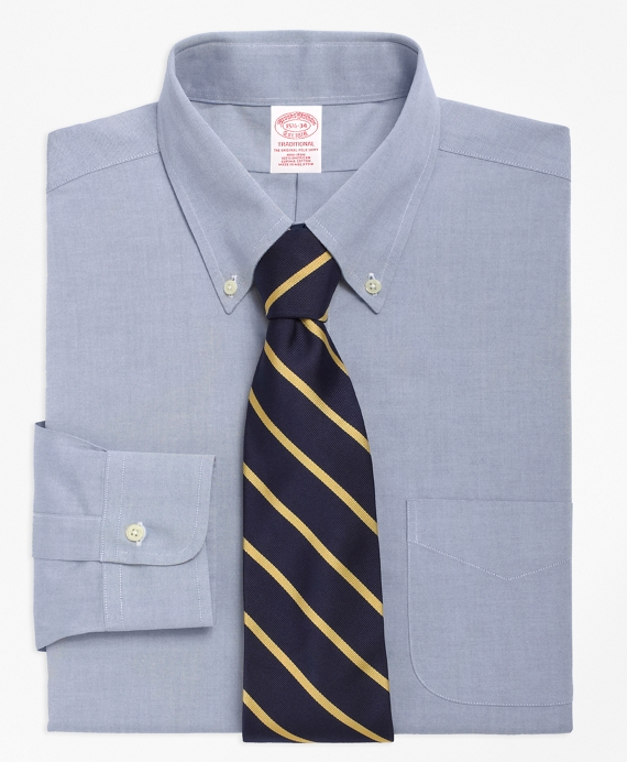 Traditional Extra-Relaxed-Fit Dress Shirt, Non-Iron Button-Down Collar Blue
