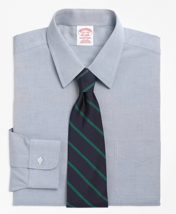 Traditional Relaxed-Fit Dress Shirt, Non-Iron Point Collar Blue