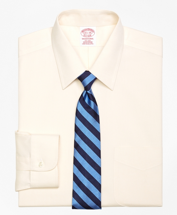 Traditional Extra-Relaxed-Fit Dress Shirt, Non-Iron Point Collar Ecru