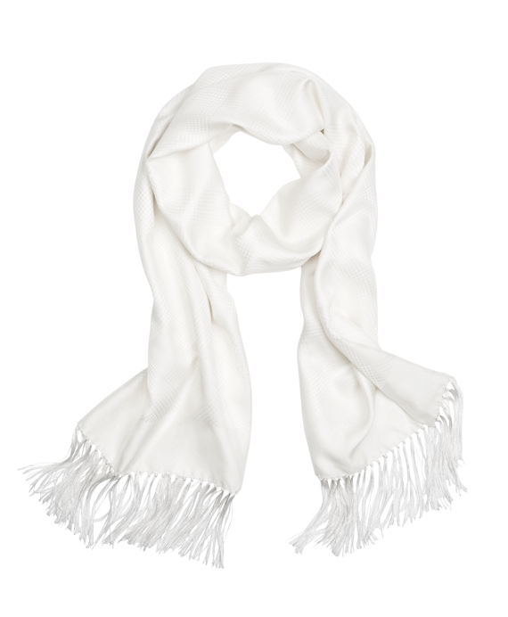 Houndstooth Jacquard Formal Scarf White