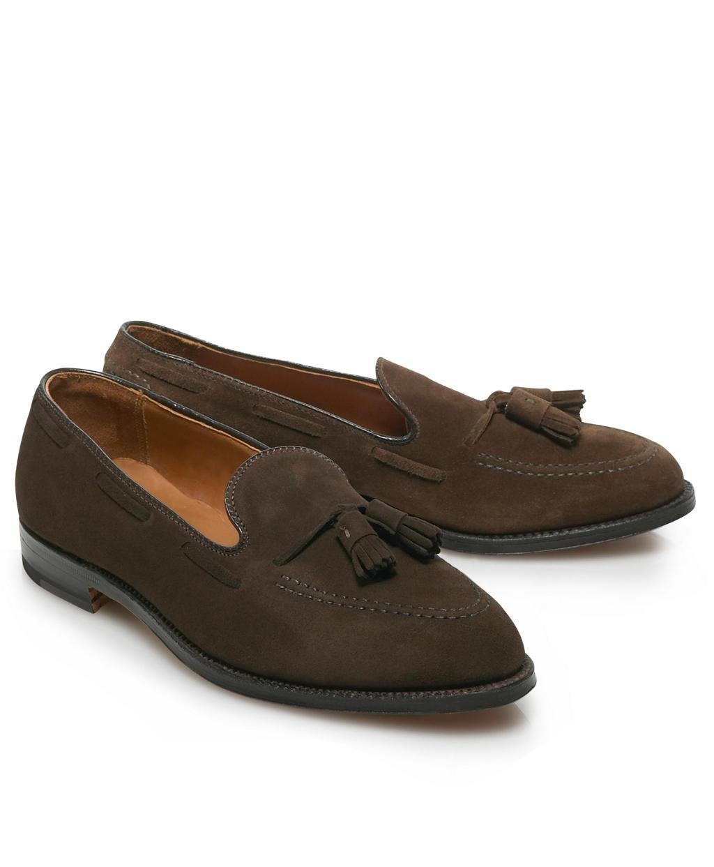 Mens Brown Suede Tassel Shoes Brooks Brothers Heels Wanita 274