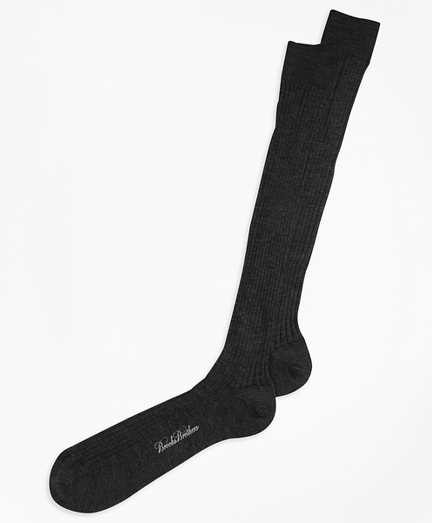 Merino Wool Ribbed Over-the-Calf Socks