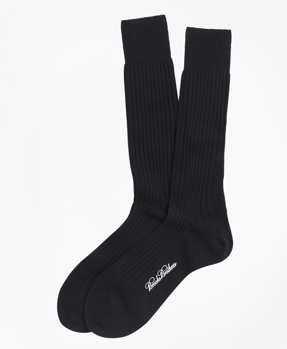 Merino Wool Ribbed Crew Socks Black
