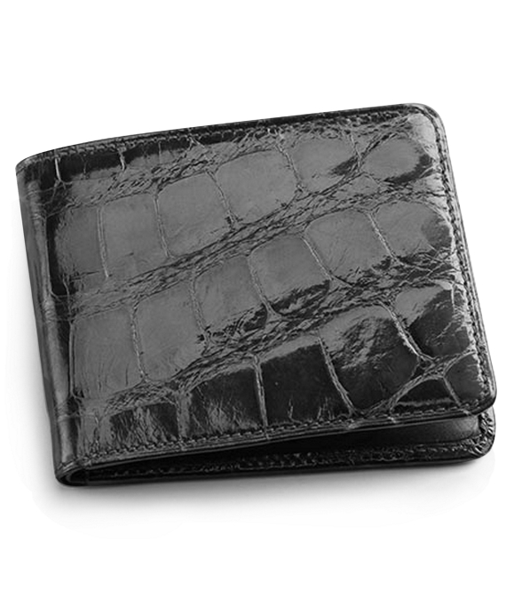 Alligator Card Case with Money Clip Black