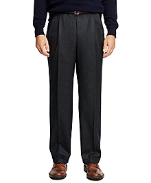 Madison Fit Pleat-Front Flannel Trousers