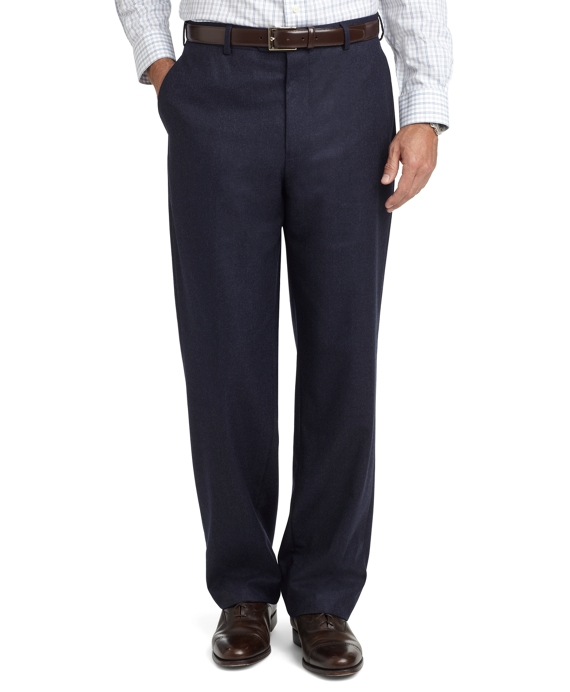 Madison Fit Plain-Front Flannel Trousers Navy