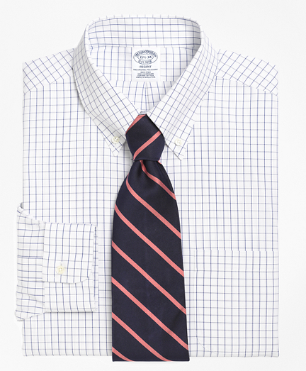 Regent Fitted Dress Shirt, Non-Iron Windowpane