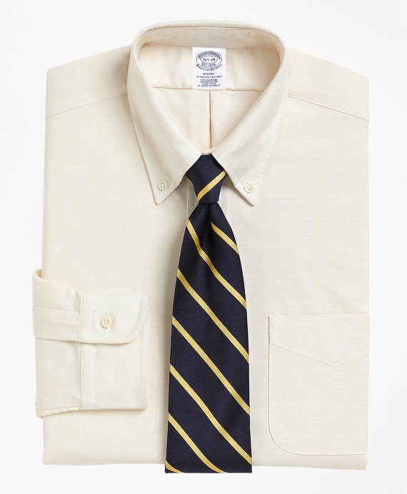 Regent Fitted Dress Shirt, Button-Down Collar Ecru