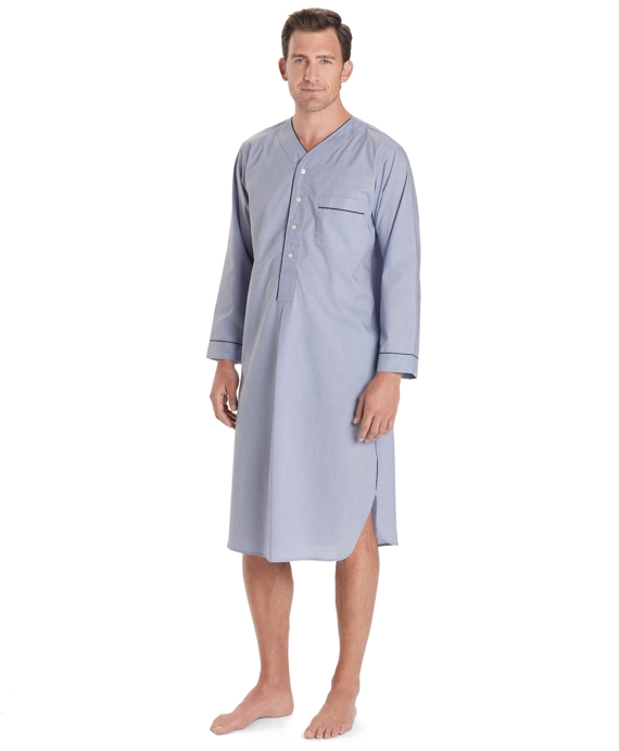 Wrinkle-Resistant Broadcloth Nightshirt Blue