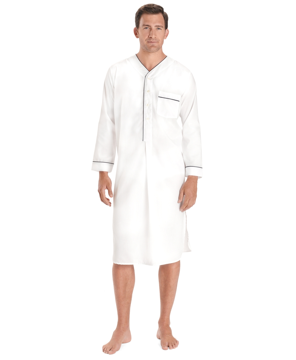 1940s Men's Underwear: Briefs, Boxers, Unions, & Socks Brooks Brothers Mens Wrinkle-Resistant Broadcloth Nightshirt $55.65 AT vintagedancer.com