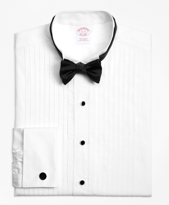 Traditional Fit Ten-Pleat Wing Collar Tuxedo Shirt White