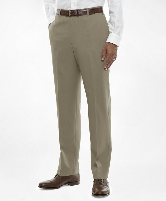 Regent Fit Flat-Front Classic Gabardine Trousers British Tan