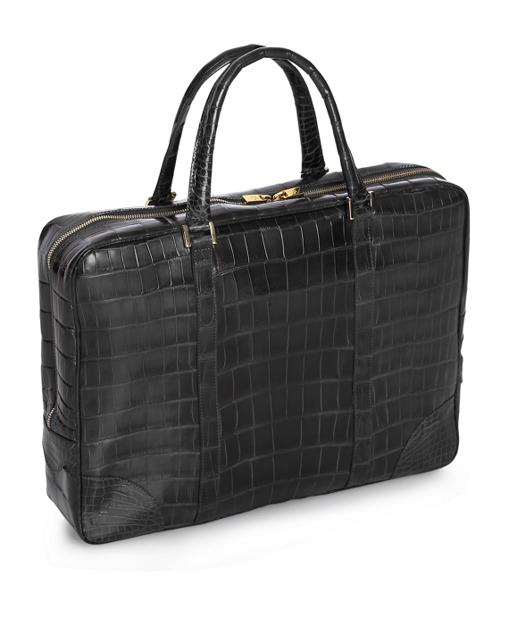 Soft Alligator Briefcase Black
