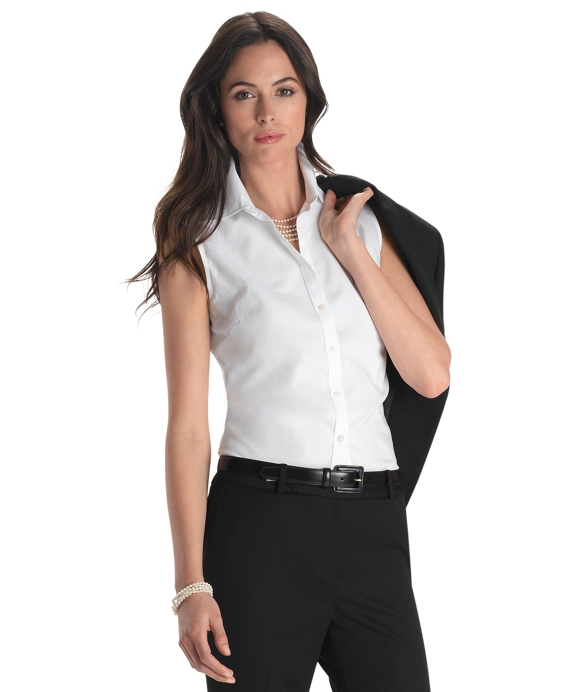 Petite Non-Iron Fitted Sleeveless Dress Shirt White