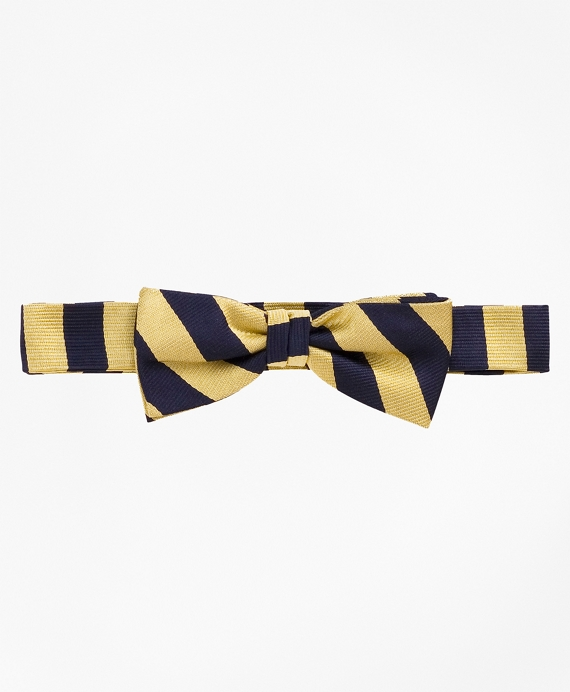 Boys Guard Striped Bow Tie Gold-Navy