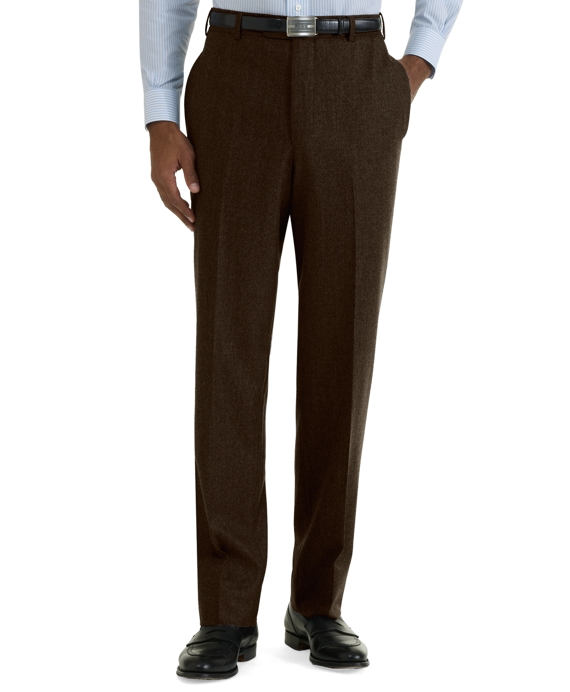 Milano Fit Plain-Front Flannel Trousers Chocolate