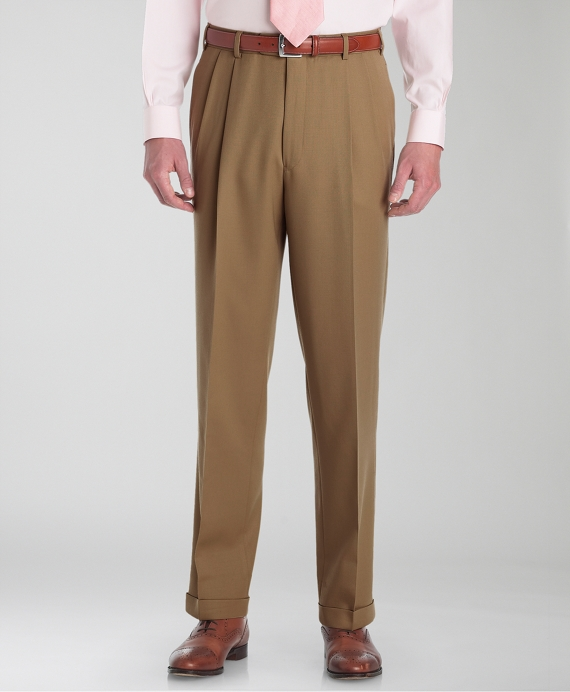 Madison Fit Pleat-Front Classic Gabardine Trousers British Tan