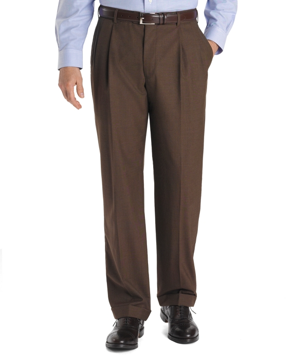 Country Club Saxxon™ Wool Madison Fit Pleat-Front Trousers Brown