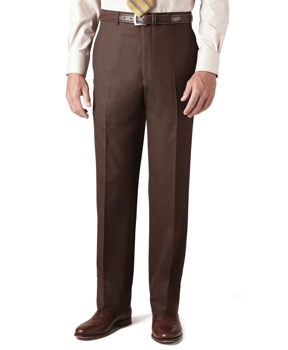 Country Club Saxxon™ Wool Madison Fit Plain-Front Trousers Brown