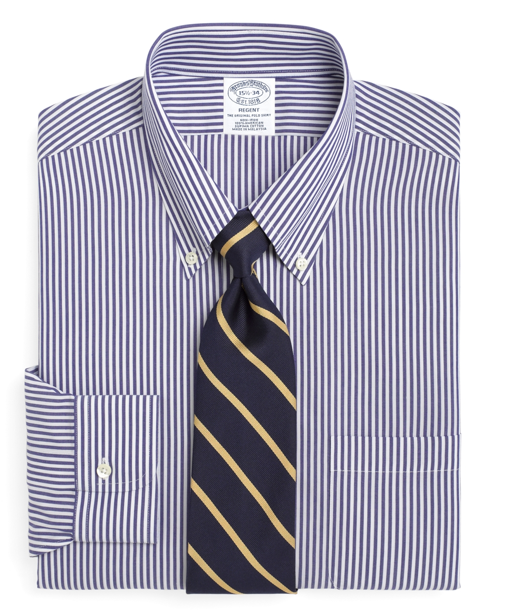 Men S Non Iron Slim Fit Blue And White Bengal Striped Dress Shirt Brooks Brothers