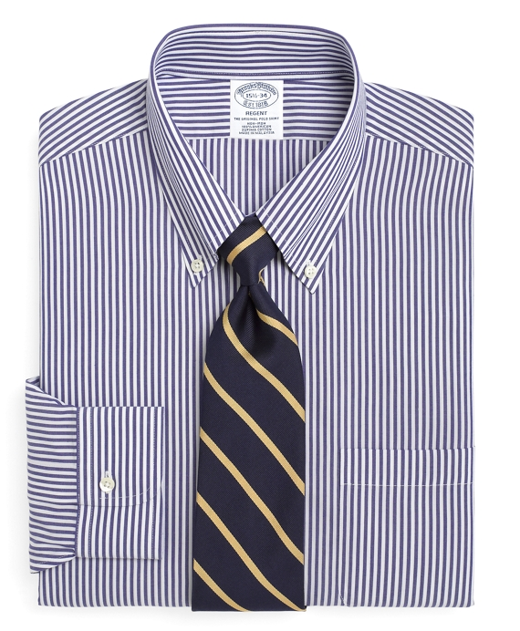 Regent Fitted Dress Shirt, Non-Iron Bengal Stripe Blue-White