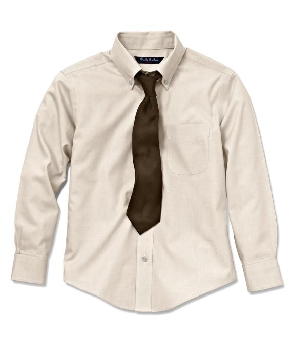 Boys Non-Iron Supima® Pinpoint Cotton Dress Shirt Ecru